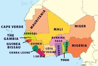 political map west africa my blog. Black Bedroom Furniture Sets. Home Design Ideas